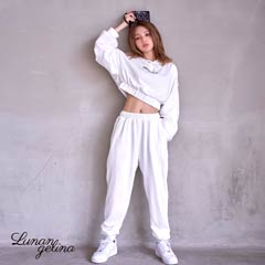 Short hoodie & long pants Set-up/White